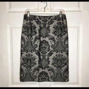 LOFT Grey Black Damask Pencil Skirt Size 6